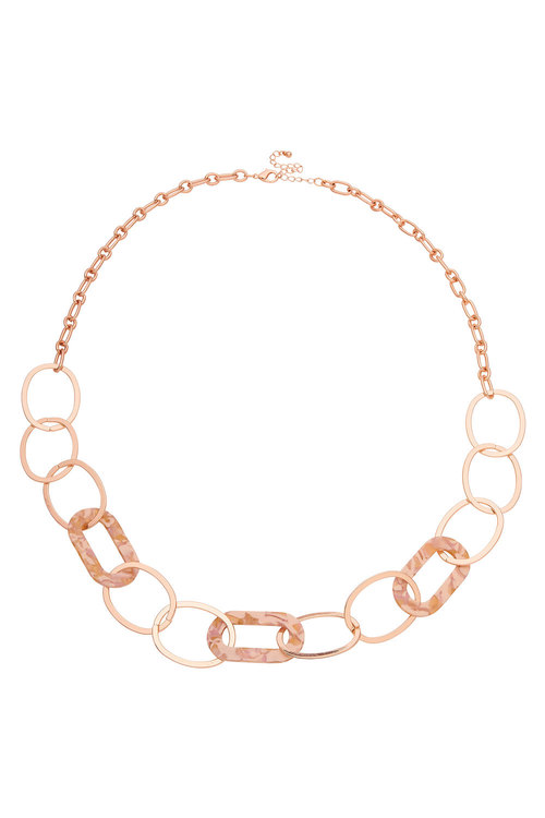 Amber Rose Resin Link Rope Necklace