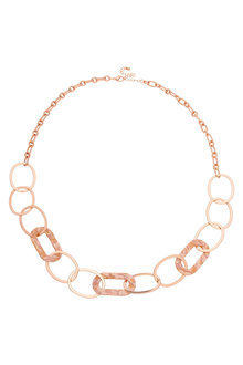 Amber Rose Resin Link Rope Necklace - 259023