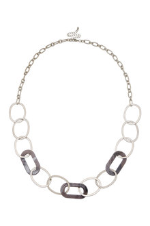 Amber Rose Resin Link Rope Necklace - 259024