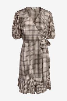 Next Check Wrap Dress - 259065