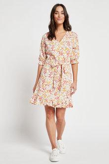 Next Linen Blend Ruffle Mini Dress - 259149