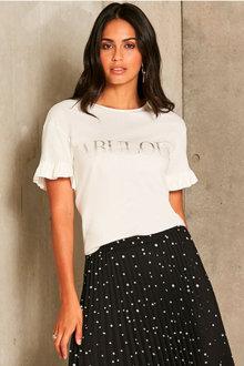 Urban Frill Detail Sleeve Print T-Shirt - 259705
