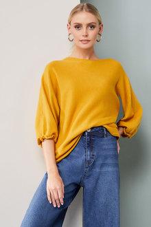 Emerge Ruffle Cuff Boatneck Sweater - 260347