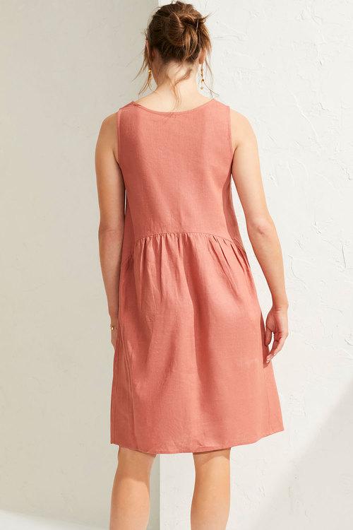 Capture Linen Blend Gather Waist Dress