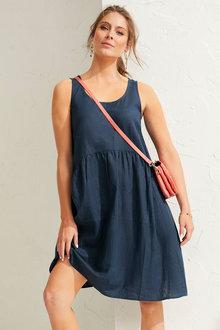 Capture Linen Blend Gather Waist Dress - 260360