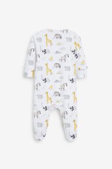 Next 3 Pack GOTS Organic Cotton Animal Sleepsuits (0-12mths) - 260511