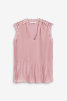 Next Lace Insert Pleated Top - 260623