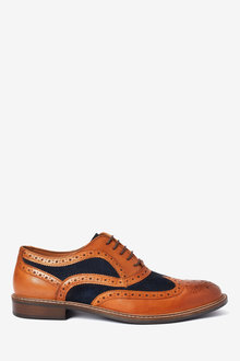 Next Leather Mix Brogues - 260690