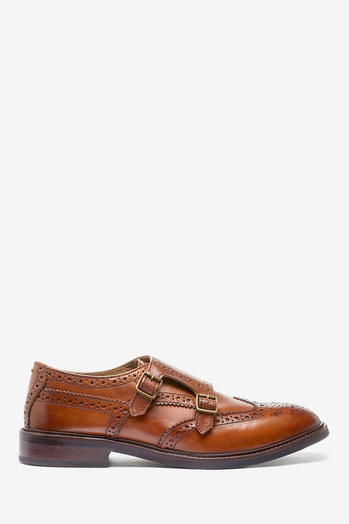 Next Modern Heritage Leather Monk Shoes