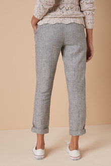 Next 100% Linen Taper Trousers - 260758