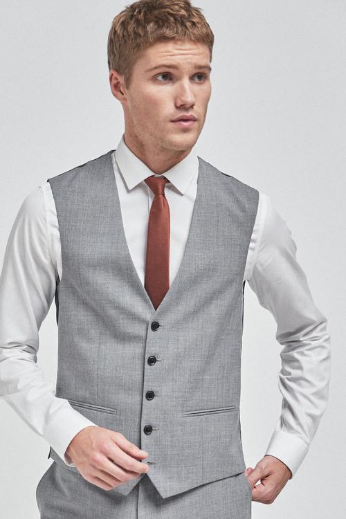 Next Wool Mix Textured Suit: Waistcoat
