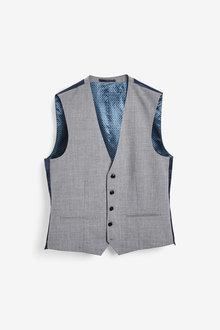 Next Wool Mix Textured Suit: Waistcoat - 260850