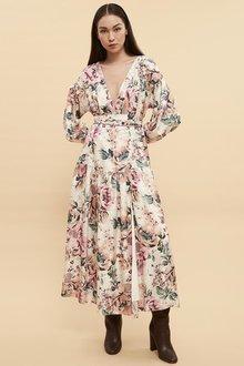 Ginger & Smart Floral Charts Wrap Dress - 261039