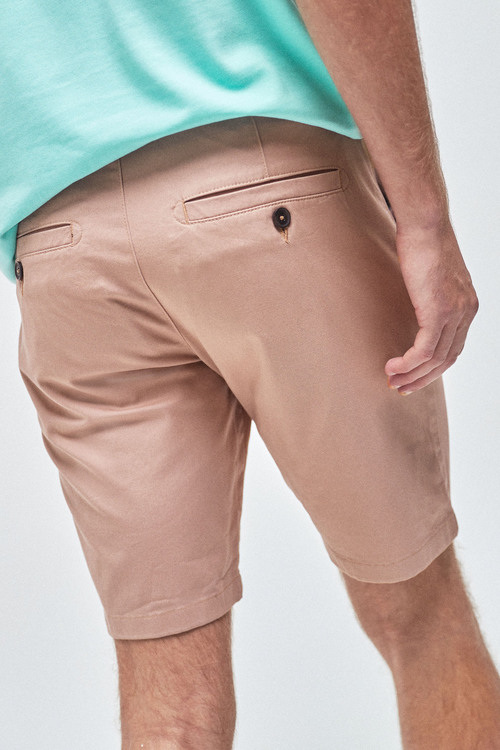 Next Stretch Chino Shorts-Slim Pleat