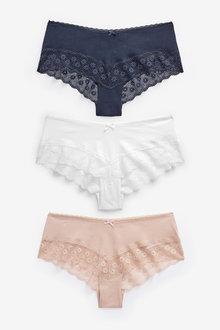 Cotton Rich Lace Hipsters Three Pack - 261184
