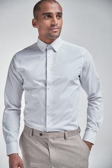 Next Slim Fit Easy Iron Printed Shirt - 261224