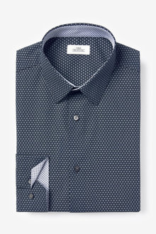 Next Printed Regular Fit Single Cuff Shirt With Trim Detail - 261226
