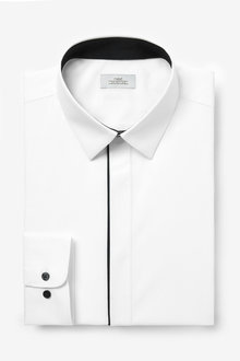 Next Slim Fit Concealed Placket With Piping Detail Shirt - 261228
