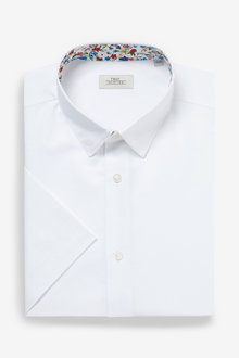 Next Cotton Linen Floral Trim Shirt - 261234