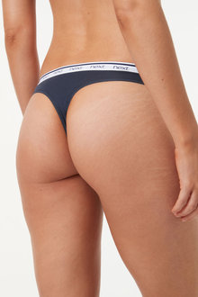 Next Cotton Rich Logo Knickers Four Pack-Thong - 261246