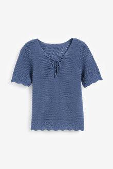Next Lace-Up Crochet T-Shirt - 261318
