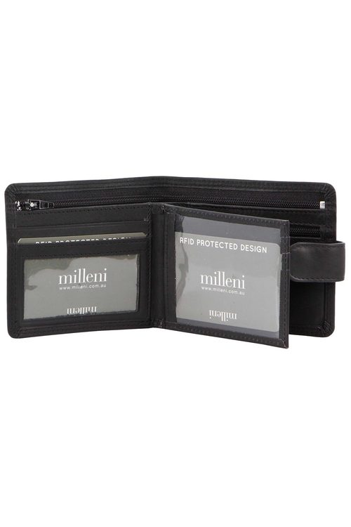 Milleni Mens Leather Bi-Fold Wallet