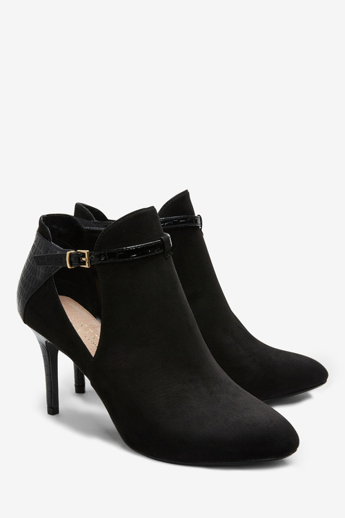 Next Forever Comfort Open Side High Heeled Shoe Boots-Wide Fit
