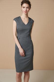 Next Tailored Short Sleeve V-Neck Dress-Tall - 261836
