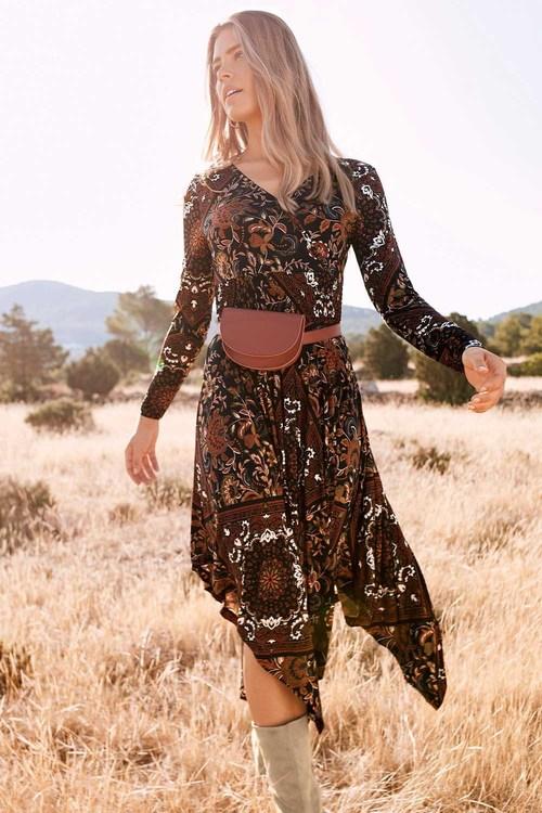 Urban Hankerchief Hem Print Dress
