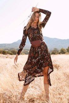 Urban Hankerchief Hem Print Dress - 262134