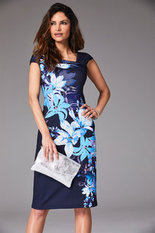 Kaleidoscope Dark Blue Large Floral Dress - 262186