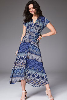 Kaleidoscope Geo Wrap Dress - 262192