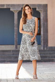 European Collection Sleeveless Animal Print Dress - 262303