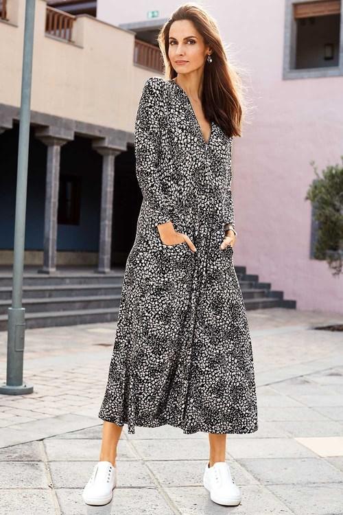 European Collection Long Sleeve Print Dress