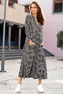 European Collection Long Sleeve Print Dress - 262314