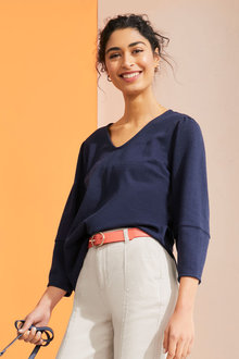 Emerge Texture Knit Sleeve Detail Top - 262372