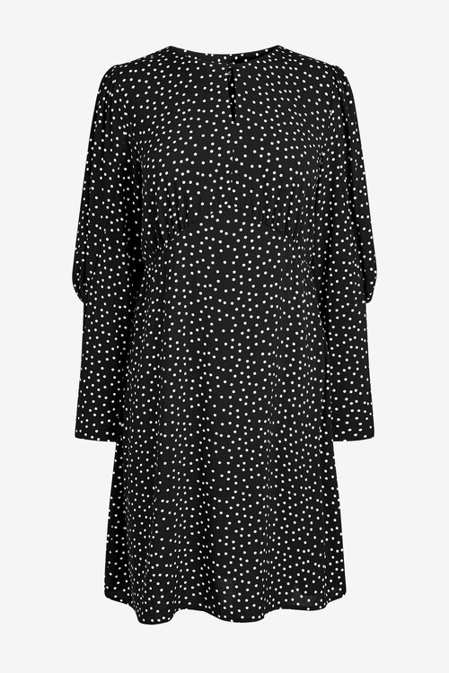 Next Keyhole Volume Sleeve Mini Dress