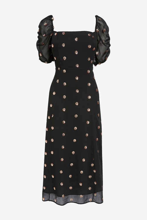 Next Sequin Spot Puff Sleeve Dress
