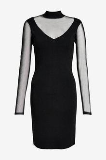 Next Sheer Sleeve Dress - 262482