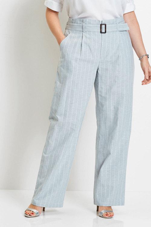 Euro Edit Stripe Belted Linen Pants