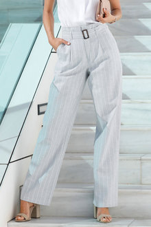 Euro Edit Stripe Belted Linen Pants - 262492