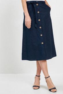 Euro Edit Linen Blend Button Skirt - 262499
