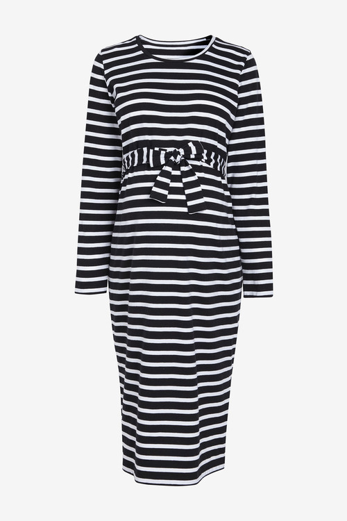 Next Maternity Belted Stripe Jersey Dress