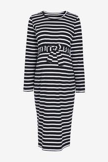 Next Maternity Belted Stripe Jersey Dress - 262547