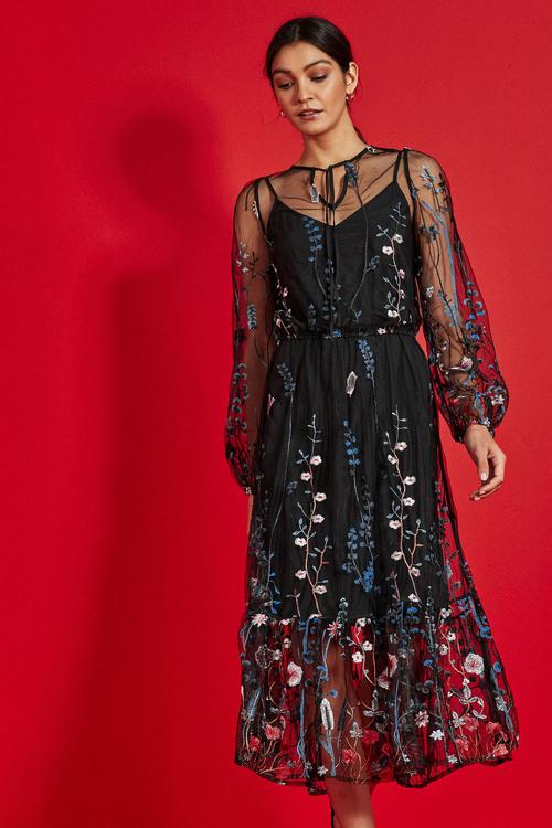 Next Embroidered Mesh Midi Dress