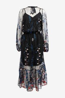 Next Embroidered Mesh Midi Dress - 262597