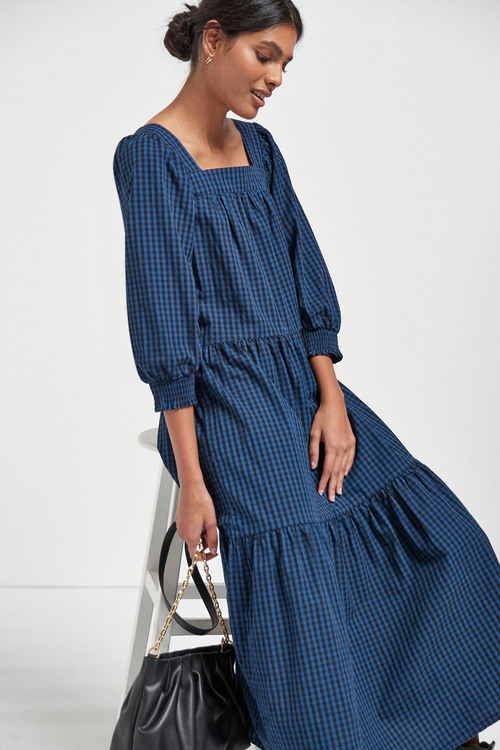 Next Square Neck Tiered Midi Dress