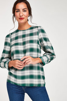 Next Check Puff Sleeve Blouse - 262774