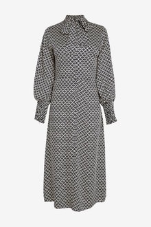 Next Tie Neck Smock Cuff Midi Dress - 262821
