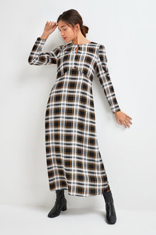 Next Keyhole Volume Sleeve Midi Dress - 262823